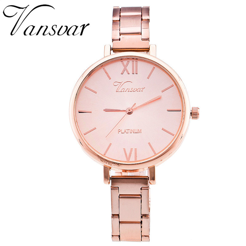 Vansvar Luxury Brand Stainless Steel Bracelet Watch Women Casual Quartz Watch Fashion Wristwatch Relogio Feminino Clock 1362 vansvar brand fashion casual relogio feminino vintage leather women quartz wrist watch gift clock drop shipping 1903