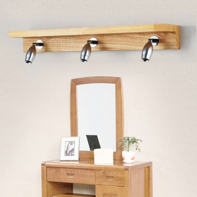 Creative Bedroom Vanity Mirror Lights Wood Bathroom Mirror Lamp