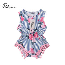 New Baby Girl Tassel Romper Summer Infant Baby Girls Floral Pom Pom Romper Jumpsuit Sunsuit Outfits 0-18M girls pom pom solid jumpsuit