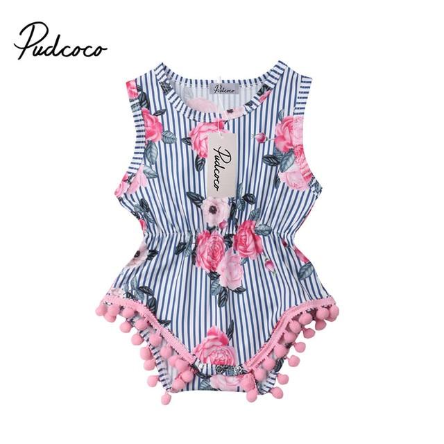 8586470560236 New Baby Girl Tassel Romper Summer Infant Baby Girls Floral Pom Pom Romper  Jumpsuit Sunsuit Outfits 0-18M