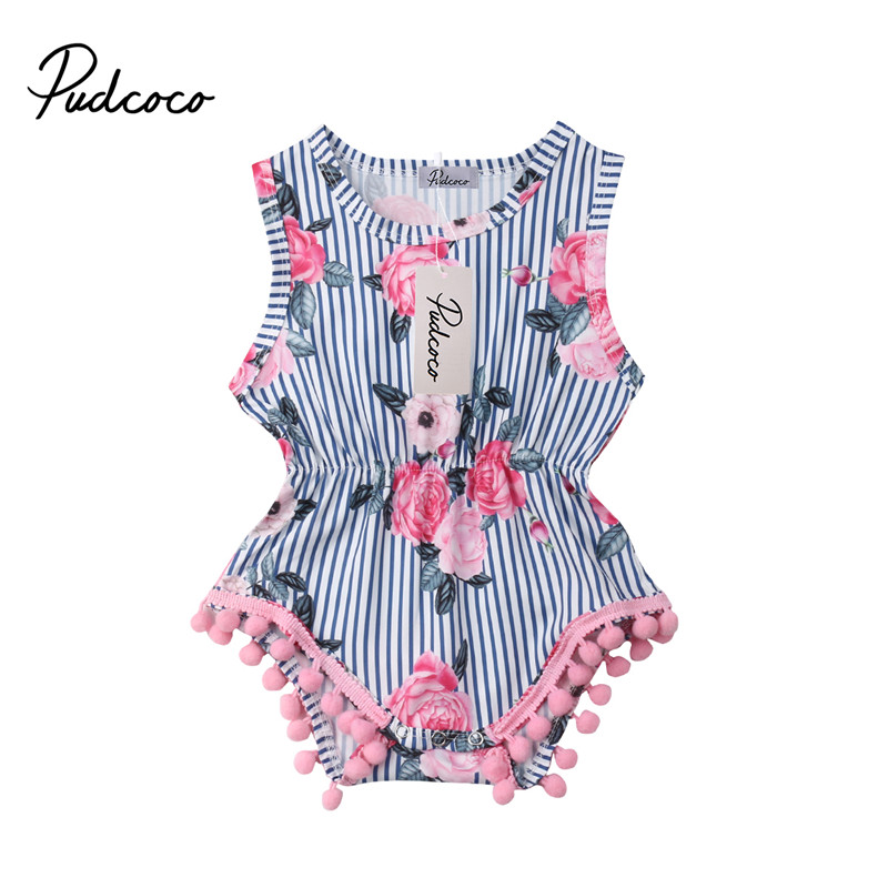 New Baby Girl Tassel   Romper   Summer Infant Baby Girls Floral Pom Pom   Romper   Jumpsuit Sunsuit Outfits 0-18M