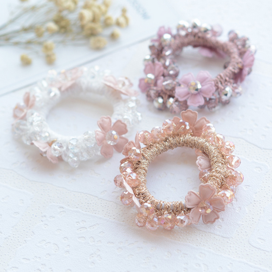 Women Girls Luxury Colorful Flower Crystal Peal Elastic Hair Bands Girls Hair Tie Ring Rubber Ponytail Holder Hair Accessories ...