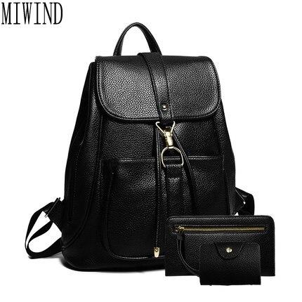 2017 Hot New Casual Women Backpack Female PU Leather Women s Backpacks Black Bagpack Bags Girls