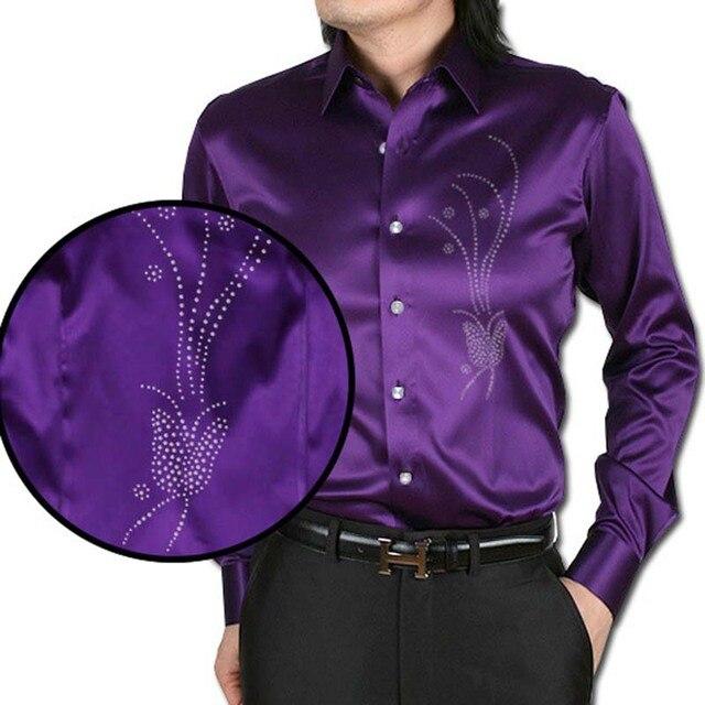 bfa8e87f223fa4 ANPOETCHY Brand Men Imitation Silk Shirt Floral Embroidery Hot Fix Stone  Beading Long Sleeve Dress Shirt Korean Fashion Clothing