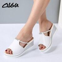 O16U Women Slipper Sandals Heels Wedges Platform Leather Peep Toe Crystal Elegant Female Sandals Ladies Mules
