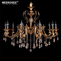 Vintage Classic Chandelier Lighting Fixture Antique Brass Pendant Retro Copper Crystal Lamp Lustre Cristal Lighting Lampadario