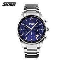 Top Luxury Brand cronógrafo SKMEI 6 funciones de la mano militar hombres Reloj de acero lleno cuarzo relojes de marca Reloj Deportivo Hombre