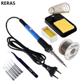 60W 220V EU Plug Electric Soldering Iron Set Temperature Adjustable Welding Repair Tool Kit with 5 Tips Solder Wire Tweezers