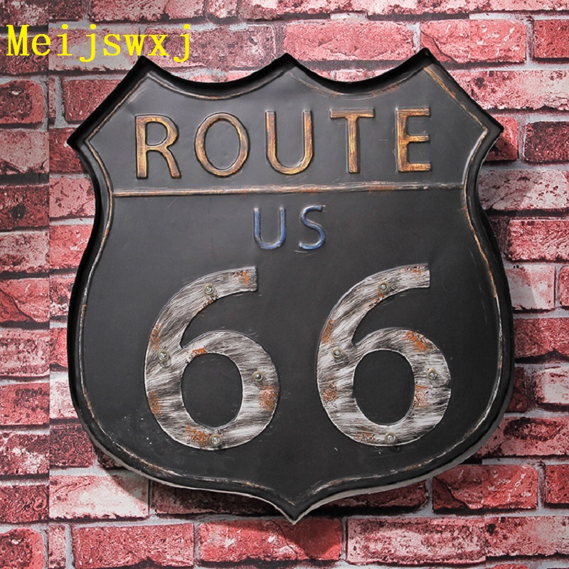Meijswxj vintage home decor led neon sign highway 66 wall for Home decor on highway 6