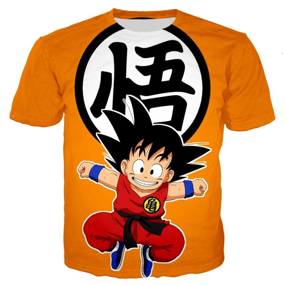 Caçoa o tshirt Impressão menino anime De Dragon Ball Z 3D camiseta Saiyan Goku Roshi Muten-O Pescoço Tops tees Verão camisa Harajuku T 1 Vegeta