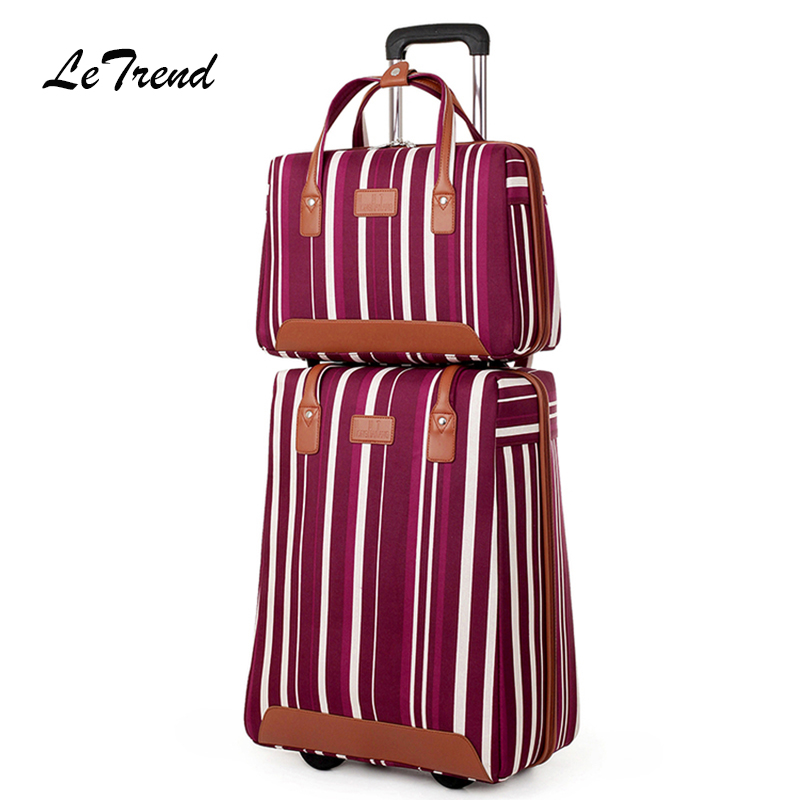 Letrend Oxford Womens Handbag Rolling Luggage Set Travel Duffle Carry On Trolley Password Computer Bag Men Suitcases Wheel