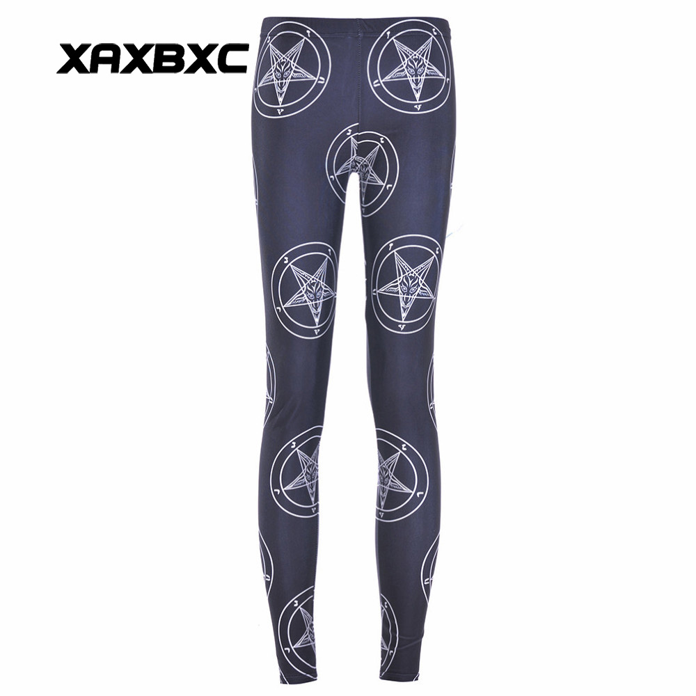 Ingenious New 3191 Sexy Girl Mysterious Symbols Baphomet Star Printed Elastic Slim Fitness Workout Women Leggings Pants Trousers Plus Size