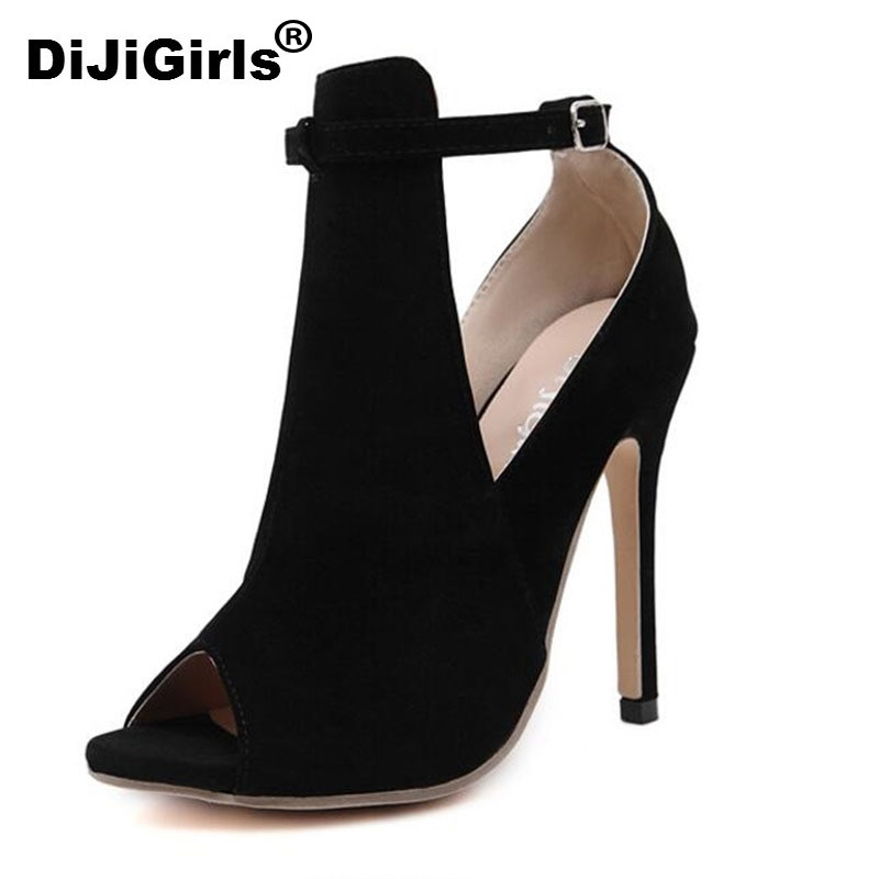 DiJiGirls high quality women new style concise ankle strap mary jane stiletto black Sexy sandals pump high heels free shipping high quality pump wbz 25