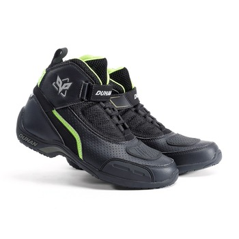 Bottes en cuir de Moto hommes été bottes de Moto respirantes Motocross bottes de course tout-terrain Moto bottes de motard noir