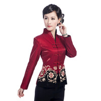 Spring And Autumn New Women S Satin Jacket Fashion Embroidery Coat V Neck Outerwear Size SML