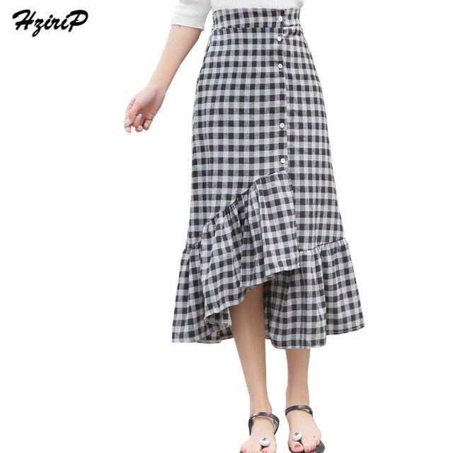 443bd94521 Hzirip Women Elegant Ruffles Checkered Plaid Skirts Faldas Mujer Vetro  Ladies 2017 New Fashion Streetwear High Waist Long Skirt