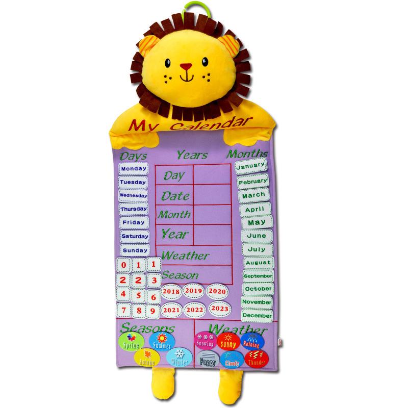 Kids Calendar Toy Time Learning Weather Seasons Early Educational Fabric Hanging Calendars Calendrier Educatif Toys For Children