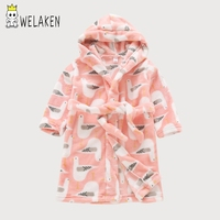 New Cartoon Kids Bathrobe Autumn Winter Child Pajamas Flannel Sleepwear Five Pointed Star Home Wear Baby