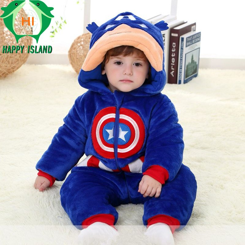 Brand Spring Winter Baby Flannel Captain America Costume Onesie Climbing Pajamas Romper Jumpsuit Coverall Thicken Baby Clothing