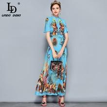 Belt Sequin Crystal Beading Coral Printed Long Dress