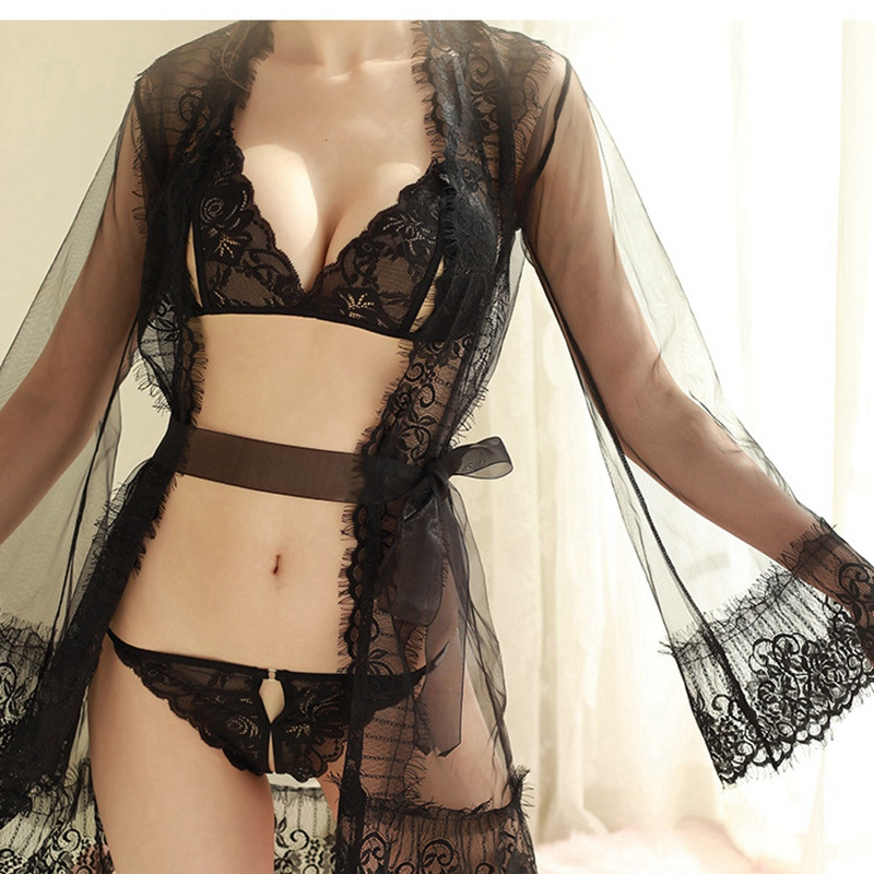 Sexy Bridesmaid Robes Women Bra Sets Lace Porno Lingerie Robe See Though Bathrobe Ladies Long Gowns Black Women Clothes