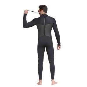 Image 4 - Erkek 5mm siyah/gri Wetsuit tüplü dalış sörf Fullsuit tulum Wetsuits neopren dalış elbisesi erkekler 5 milimetre