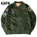 Men Women MA1 Bomber Jacket Embroidery Stand Collar Zipper Patches Hipster Streetwear Fight Jacket And Coat For Hipster