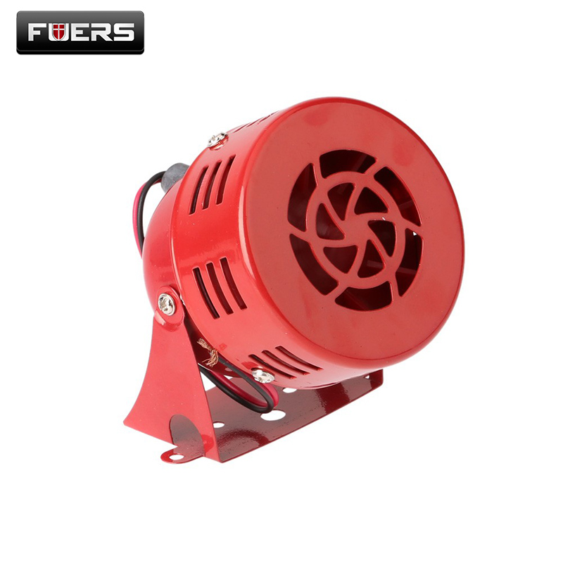 12V 3 Automotive Air Raid Siren Horn Car Truck Motor Driven Alarm Red ac110v 150db motor driven air raid siren metal horn double industry boat alarm