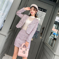 Women Two Piece Outfits Autumn Winter Jackets Woman Woolen Coat Cropped Top + Pencil Bodycon Skirt Mini Skirt Set Tweed Suit