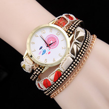 купить New Fashion Design Casual Watches Leather Bracelet Watch Women Wristwatches Relogios Femininos Ladies Vintage Quartz Watch AC014 дешево