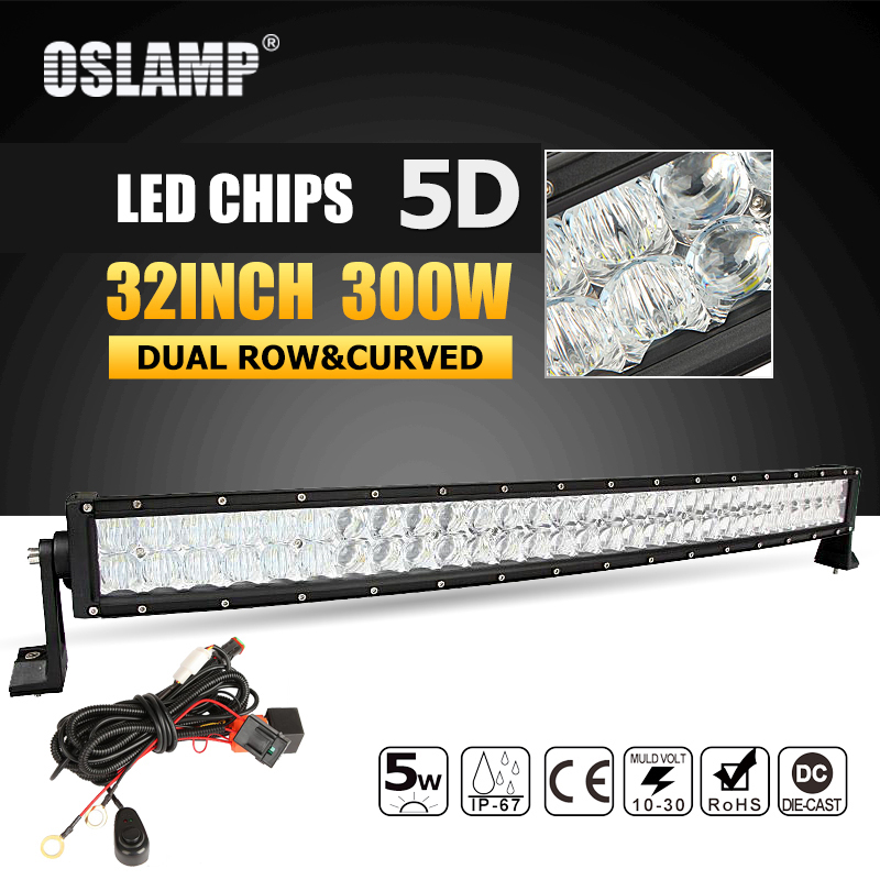Oslamp 5D 32 pouces 300 w Courbe LED Light Bar Offroad Led Lampe de Travail Bar Combo Faisceau Led Bar 4x4 ATV UTV Camion Bateau Ramassage 12 v 24 v