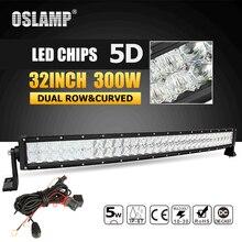 Nuevo precio Oslamp 5D 32 pulgadas 300 W curvo Barra de luz LED Offroad Led trabajo luz Bar Combo Beam Led Bar 4x4 ATV UTV Truck barco recogida 12 V 24 V