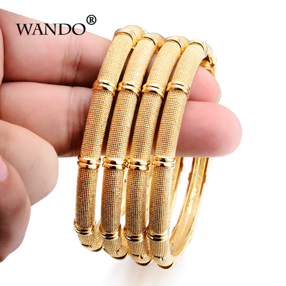 Wando 4pcs can open Arab indian ethnic African gold colour Fashion Bracelet Segmental bamboo Bangle jewelry b15