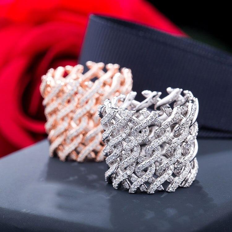 Nueva moda 925 de plata esterlina Banda ancha Zirconia de malla de anillos de joyería para las mujeres-in Anillos from Joyería y accesorios    1