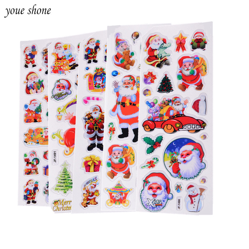 5Pcs/lot Christmas Gifts Merry Christmas 3D Carton Bubble Sticker Santa Claus Puffy Stickers Happy New Year Xmas Decor For Kids merry christmas santa claus diy wall stickers glass showcase decor