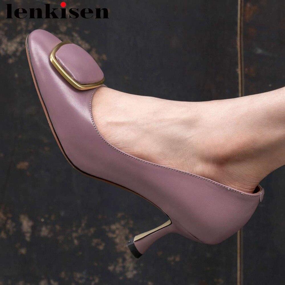 Lenkisen Hollywood movie stars genuine leather elegant lady high heels model dress pumps metal decoration square