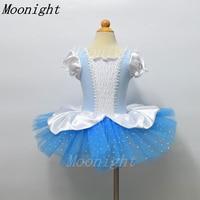 MOONIGHT Retail Kids Peuter Korte Mouw Dot Rok Tutu Ballet Jurk Gymnastiek Kleding Voor Dansen Blauw Dancewear Meisjes