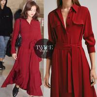 Medium long Loose Red Fashion Dress Party New Lace Up Long Sleeve Casual Elegant With Belt Pocket High Waist Dress Spring 2019
