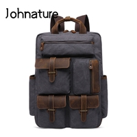 Johnature 2019 New Retro Men Backpack Outdoor Travel Canvas Waterproof Air Cushion Belt Solid Bag Leisure Large Laptop Backpack