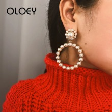 OLOEY New 2019 Fashion Dangle Earring Women Geometric Circle Pearls Long Earrings Simple Big Drop Jewelry Trendy Gifts