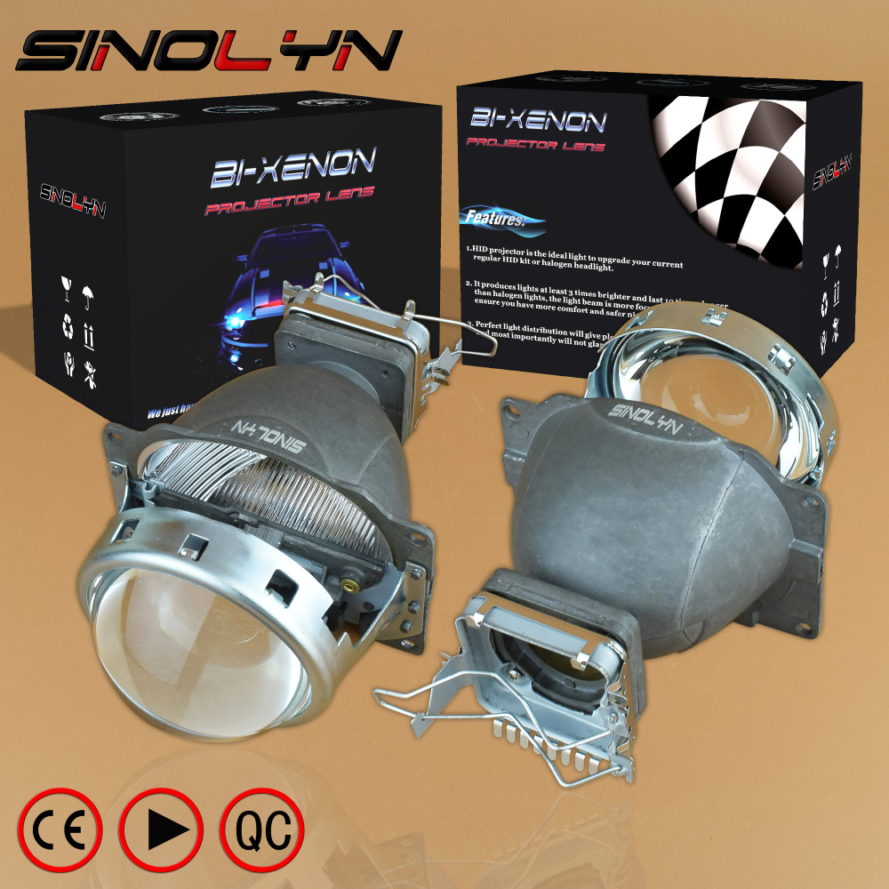 SINOLYN HID Bi xenon 3.0 inches Projector Lens Headlight Retrofit Lenses Kit, Use D1S D2S D2H D3S D4S Bulbs Car Styling Headlamp sinolyn 3 0 super hid bixenon lenses headlight car projector lens square u led angel eyes halo daytime running lights headlamp