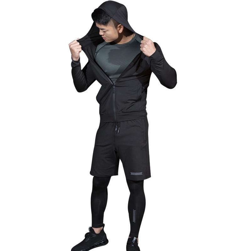 ESHINES 2019 mode nouveau costume Yoga hommes Polyester Spandex Sport Gym thermique séchage rapide grande taille serré costume pas cher prix pour homme