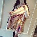 O novo lenço de algodão Impressão Pena grande multifunções sol quente cachecol