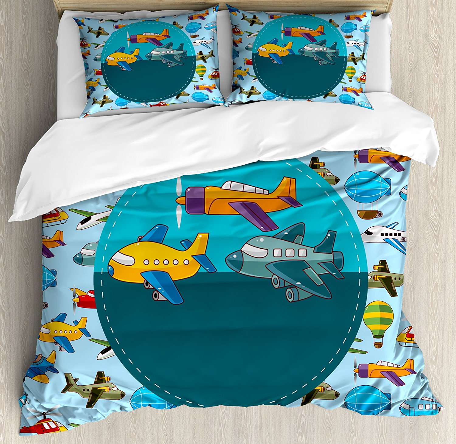 Kids Party Duvet Cover Set Colorful Retro Style Various Cartoon Airplanes Air Balloons Zeppelins Boys Kids Bedding Set