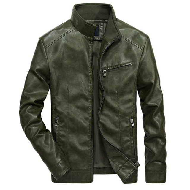 b55ca998cd0 Mens Leather Jacket Men chaqueta cuero hombre Bomber Basic lederjacke  herren Vintage Business Brand Clothing Military Retro Coat