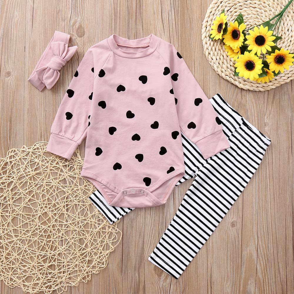 978b9491e Detail Feedback Questions about MUQGEW Newborn Baby Girls Boys Clothes  Heart Print Long Sleeves Romper+Pants+Headband Outfits Toddler Sets Clothing  Kids ...