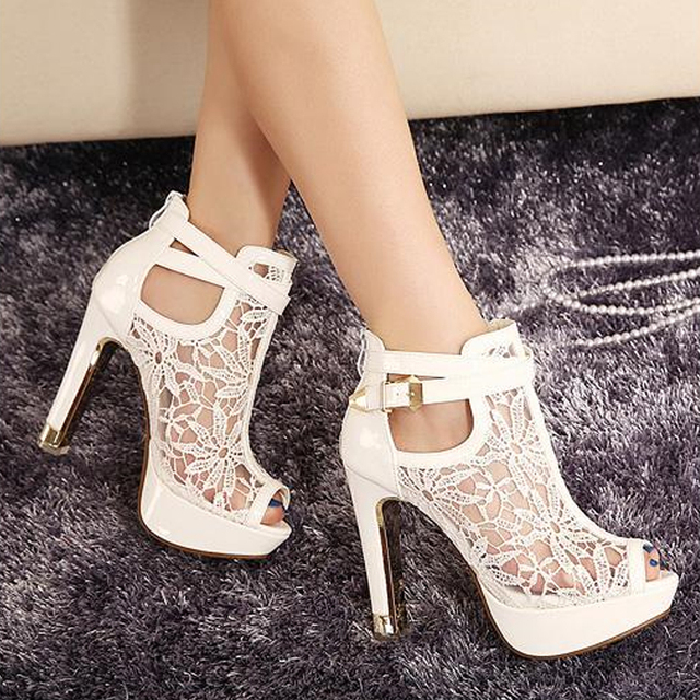 Plus Size 35-42 Fashion Peep Toe Sandals Sexy Women Platform Pumps Lace Mesh Thick High Heels Shoes Ankle boot Summer Sandalet