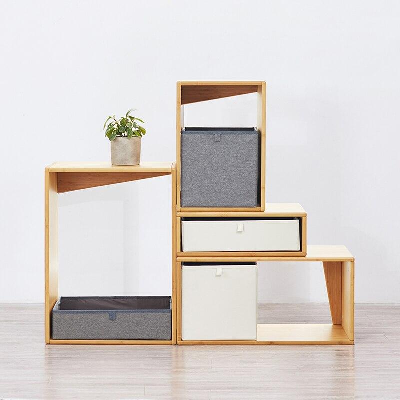 ZEN'S bambou Cube système de rangement commode armoire s'unir avec boîte de rangement en tissu
