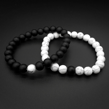 2Pcs/Set Bracelet Classic White and Black Yin Yang 1