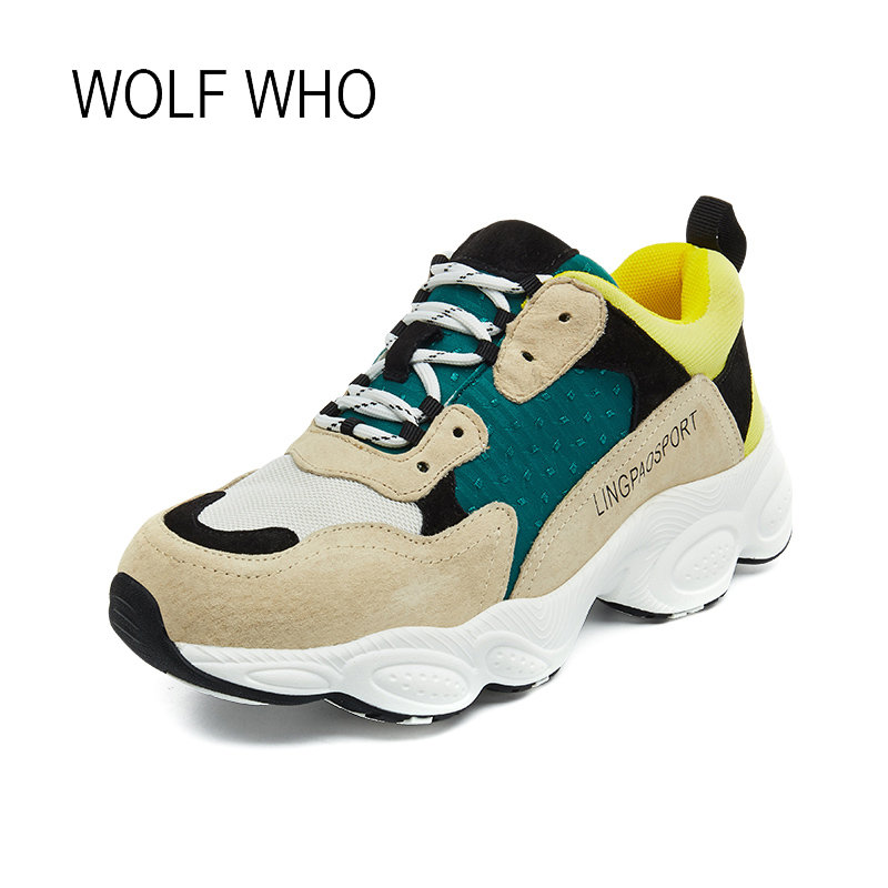 WOLF WHO 2018 Fahion Genuine Leather Women Sneakers Mesh Leather Female Casual Sneakers Ladies Krasovki Tenis Femininos H-534 wolf who genuine leather women shoes ladies spring krasovki slipony slip on loafers woman tenis feminino casual h 049